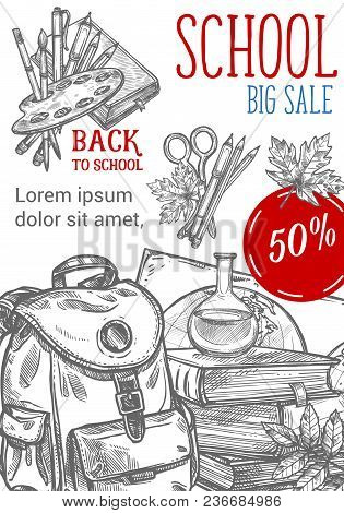 Back To School Sale Pencil Sketch Poster For September Autumn Seasonal School Store Discount Promo.