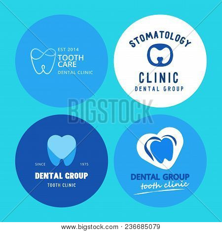Vector Logo Dental Protection Template Illustration Stomatology Mouth Blue Graphic Oral Element. Whi
