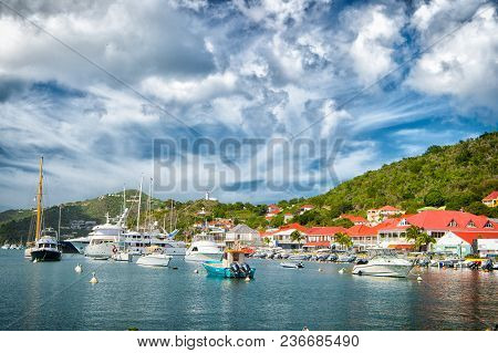 Gustavia, St.barts - November 25, 2015: Boats In Yacht Club Or Port In Tropical Harbor. Yachting And
