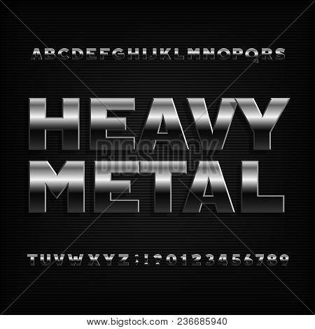 Heavy Metal Alphabet Font. Bold Chrome Effect Letters, Numbers And Symbols. Stock Vector Typeface Fo