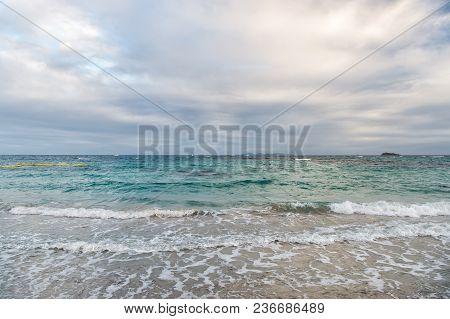 Cloud Sky Over Sea Waves In Philipsburg, Sint Maarten. Clouds On Sky, White Cloudscape.