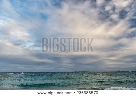 Waves Crashing Into Beautiful Tropical Caribbean Island Beach, Sint Maarten