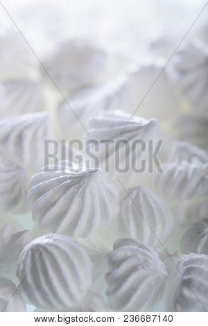 French Vanilla Meringue Cookies, Macro Shot, Selective Focus.
