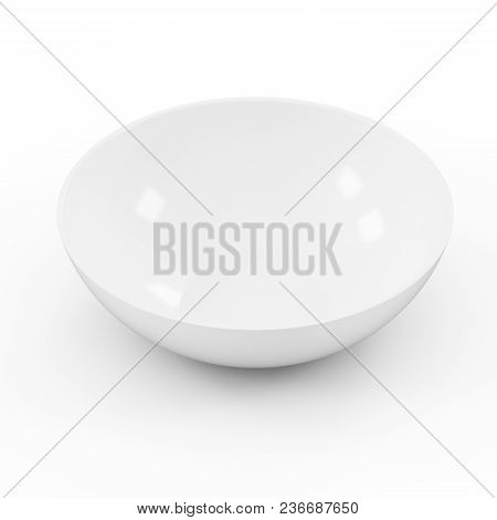 Collection Of White Objects. White Empty Rice Bowl, Isolated On White Background. 3d Illustration.