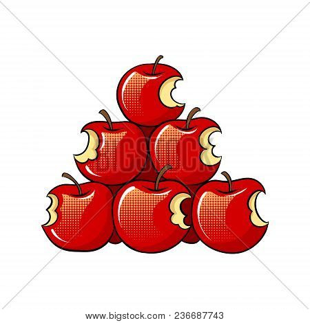 Bitten Apples On Sale Pop Art Retro Vector Illustration. Isolated Image On White Background. Comic B