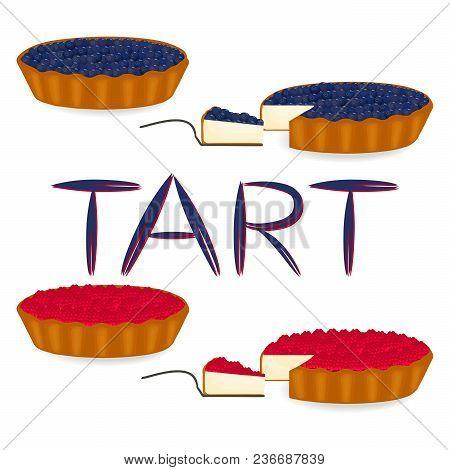 Vector Icon Illustration Logo For Whole Berry Pie Tart, Slice Homemade Bakery. Tart Pattern Consisti