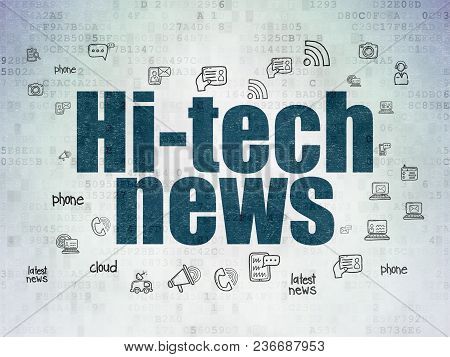 News Concept: Painted Blue Text Hi-tech News On Digital Data Paper Background With  Hand Drawn News