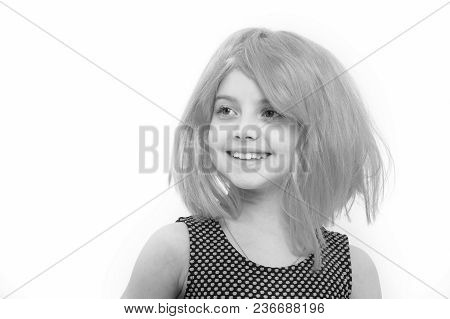 Girl Happy Smile In Pink Wig Hair Isolated On White. Child And Childhood Concept. Fashion And Beauty