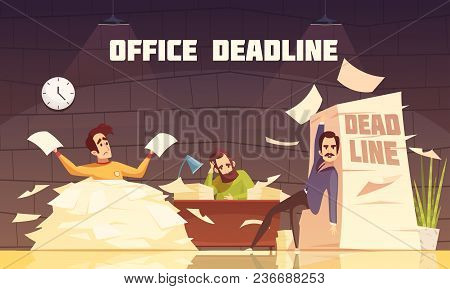 Office Piles Of Paperwork Target Dates Deadlines And Tasks Time Limits Problems Cartoon Illustration