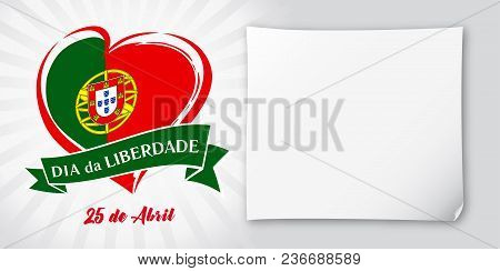 Liberty  Day Portugal, Heart Emblem In National Flag Colored. Flag Of Portugal With Heart Shape For