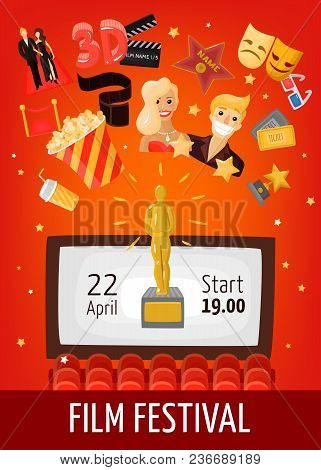 Film Festival Poster With Start Date Information Screen In Auditorium And Cinema Decorative Icons Fl