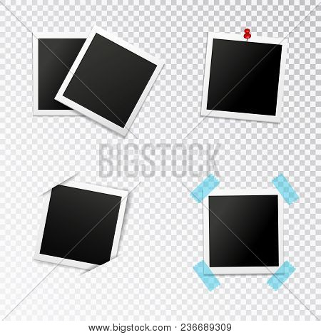 Photo Frames Set With Insertion In Slits Push Pin And Scotch On Transparent Background Isolated Vect