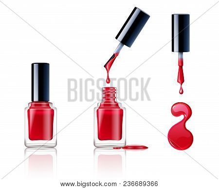 Realistic Container Brush And Drops Of Nail Polish Set Isolated On White Background Vector Illustrat