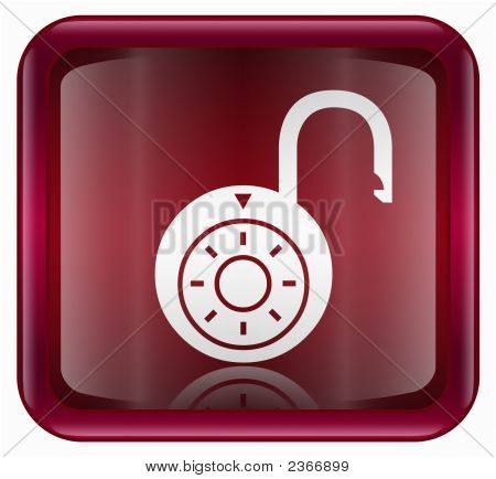 Lock On Icon, Red, Isolated On White Background