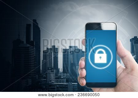 Mobile Application And Internet Online Security System. Hand Using Mobile Smart Phone And Lock Icons
