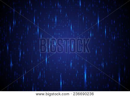 Bright Neon Background With Numbers 0 And 1. Vector Illustration With Binary Code And Bright Blue Hi