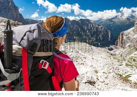 Female Climbing Enjoying Spectacular Mountain View. Brenta Dolomites, Sentiero Delle Bocchette Alte.