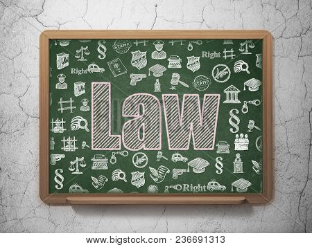 Law Concept: Chalk Pink Text Law On School Board Background With  Hand Drawn Law Icons, 3d Rendering