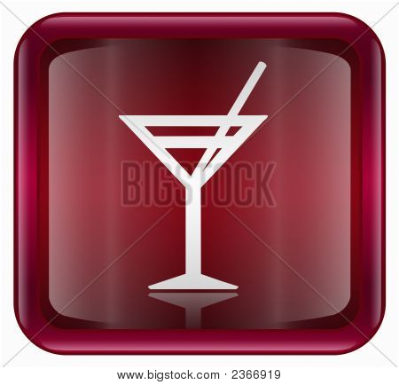 Wine-Glass Icon, Red, Isolated On White Background