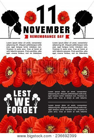 Vector Poster For 11 Of November, World Remembrance Day. Flowers Of Puppy As Symbol Of Tragic And Me