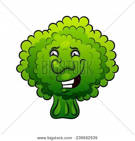 Artistic Hand Drawn Broccoli Illustration. Vegetable Broccoli Closeup Isolated On A White Background