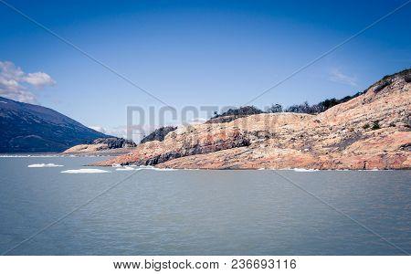 Rocky Shoreline On A Lake In El Calafate Argentina