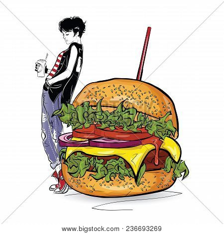 Burger With Stylish Girl In The Sketch Style On The White Background. Vector Illustration.
