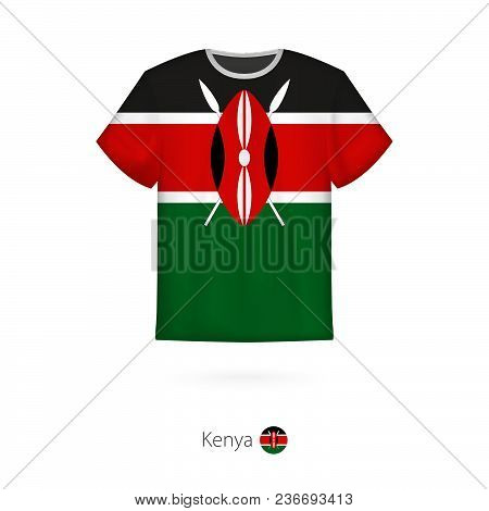 T-shirt Design With Flag Of Kenya. T-shirt Vector Template.