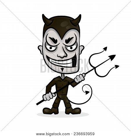 Smiling Devil Head Vector Illustration On White Background
