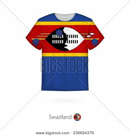 T-shirt Design With Flag Of Swaziland. T-shirt Vector Template.