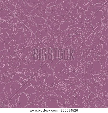 Seamless Floral Pattern Background Outline Lilac Flower Light Beige On Purple Color, Abstract Ornate