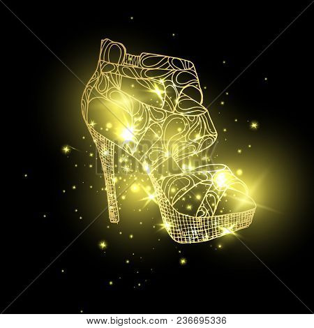 Starry Lady Sandals Or Woman T-strap, Shining Girl Shoes. Golden Female Boots With Blinking Stars, W