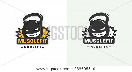 Logo Weights. Powerlifting, Bodybuilding Fitness Gym Template Vector
