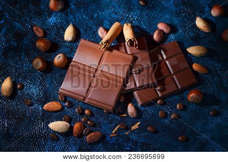 chocolate background on blue