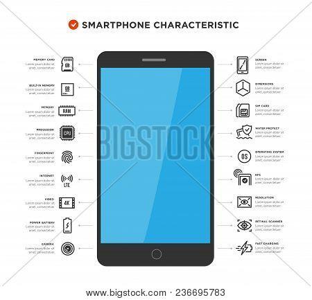 Mobile Device Components Vector Icon Set. Shop Smartphones