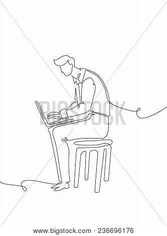 Businessman With A Notebook - One Continuous Line Design Style Illustration Isolated On White Backgr