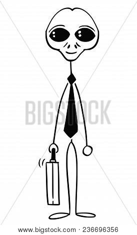Cartoon Stick Man Drawing Conceptual Illustration Of Alien Or Extra Terrestrial Monster Businessman.