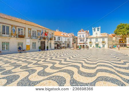 Cascais, Portugal - August 6, 2017: Side View Of Cascais Town Hall With Azulejos And King Peter I St