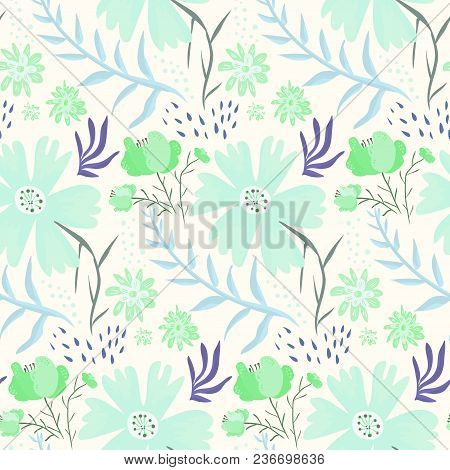 Tender Floral Summer Seamless Pattern With Blue And Green Flowers. Cute Cartoon Hand Drawn Pastel Co