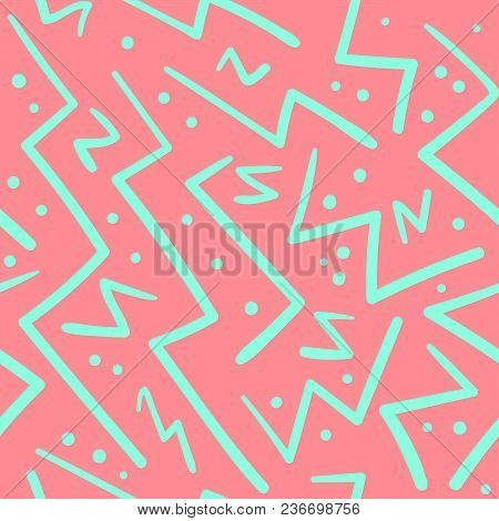 Psychedelic Chaotic Pink And Green Zig Zag With Dots Seamless Pattern. Abstract Fashion Trendy Vecto