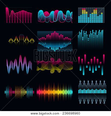 Set Of Music Equalizer Audio Waves Design Template Audio Signal Visualization Illustration. Colorful