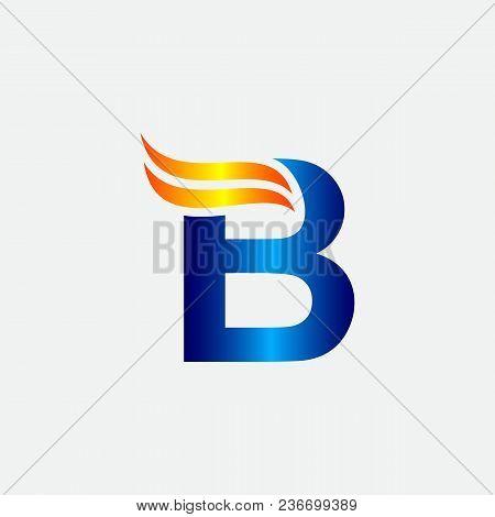B Logo Blue And Orange .b Letter Icon Design Vector Illustration.