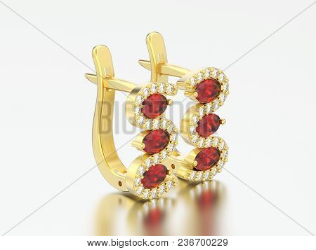 3d Illustration Isolated Yelllow Gold Diamond Ruby Earrings With Hinged Lock On A Gray Background