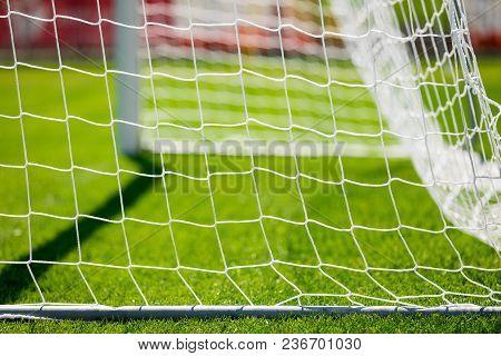 Net Of A Soccer Goal. Soccer Or Football Goal Net