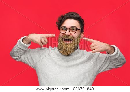 Young Content Man In Eyeglasses Pointing At His Beard All Covered With Golden Glitter Posing On Red.