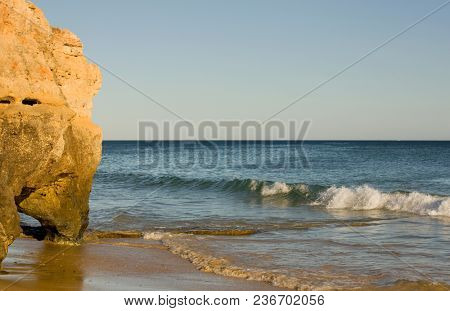 at the famous beach of Olhos de Agua in Albufeira. This beach is a part of famous tourist region of Algarve.