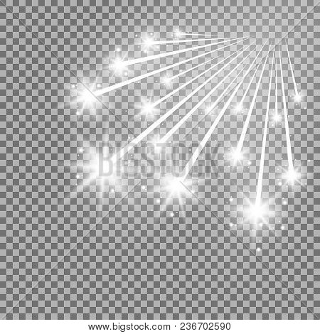 Glittering Falling Stars, Glowing Comet On Transparent Background, Light Effect, White Color
