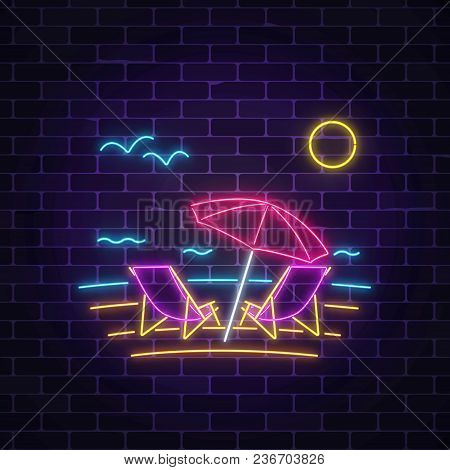 Glowing Neon Summer Sign With Chaise Lounges, Beach Umbrella, Ocean And Gulls On Dark Brick Wall Bac