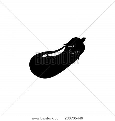 Eggplant Icon. Vector Eggplant Illustration Black On White