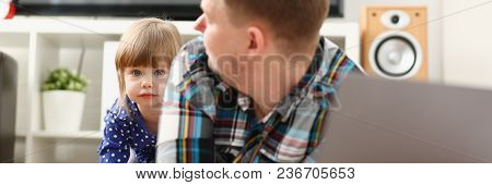 Cute Little Girl Watch Out Furtively For Her Dad Working With Laptop Pc Portrait. Lead Love Care Ban